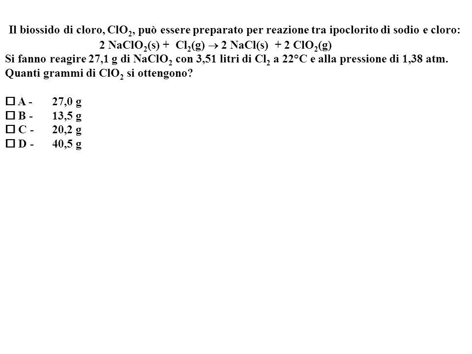 Il biossido di cloro, ClO2, può essere preparato per reazione tra ipoclorito di sodio e cloro: