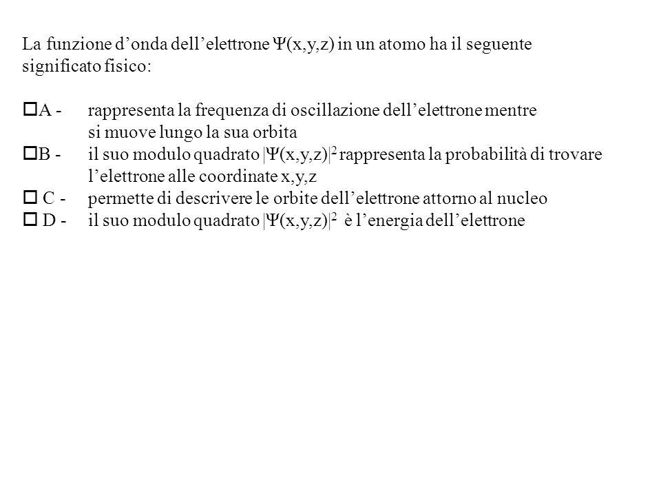 La funzione d'onda dell'elettrone Ψ(x,y,z) in un atomo ha il seguente