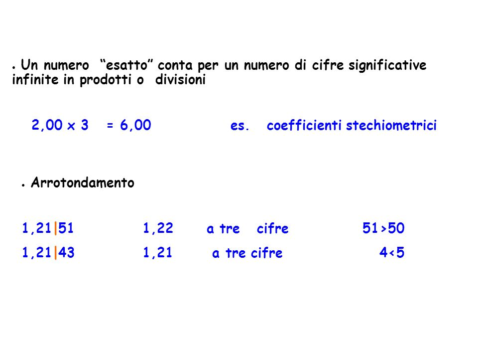 2,00 x 3 = 6,00 es. coefficienti stechiometrici