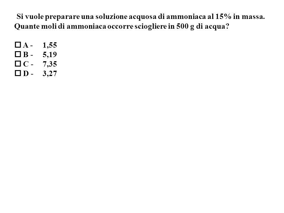 Si vuole preparare una soluzione acquosa di ammoniaca al 15% in massa.