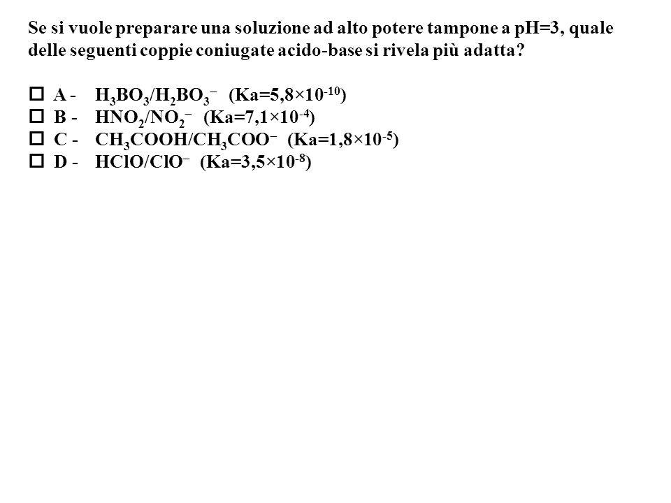 Se si vuole preparare una soluzione ad alto potere tampone a pH=3, quale