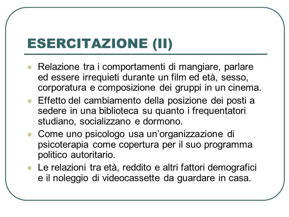 ESERCITAZIONE (II)