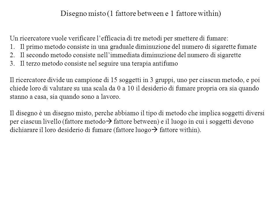 Disegno misto (1 fattore between e 1 fattore within)