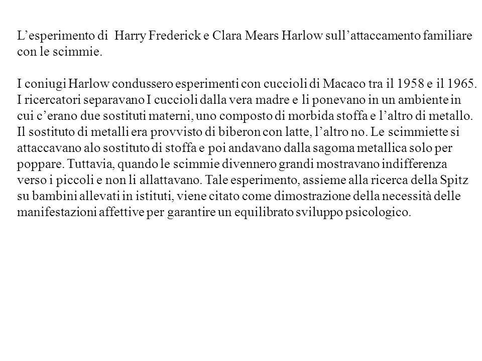 L'esperimento di Harry Frederick e Clara Mears Harlow sull'attaccamento familiare con le scimmie.