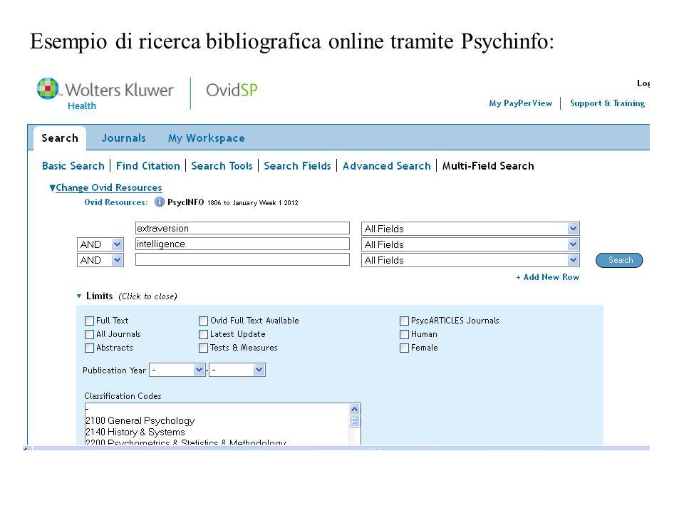 Esempio di ricerca bibliografica online tramite Psychinfo: