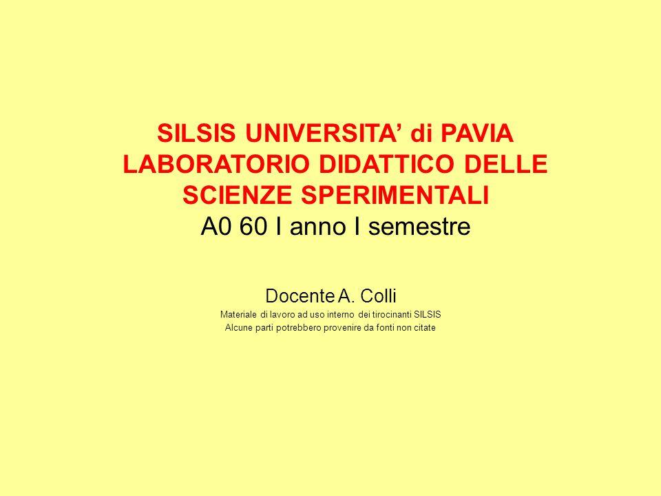 SILSIS UNIVERSITA' di PAVIA LABORATORIO DIDATTICO DELLE SCIENZE SPERIMENTALI A0 60 I anno I semestre