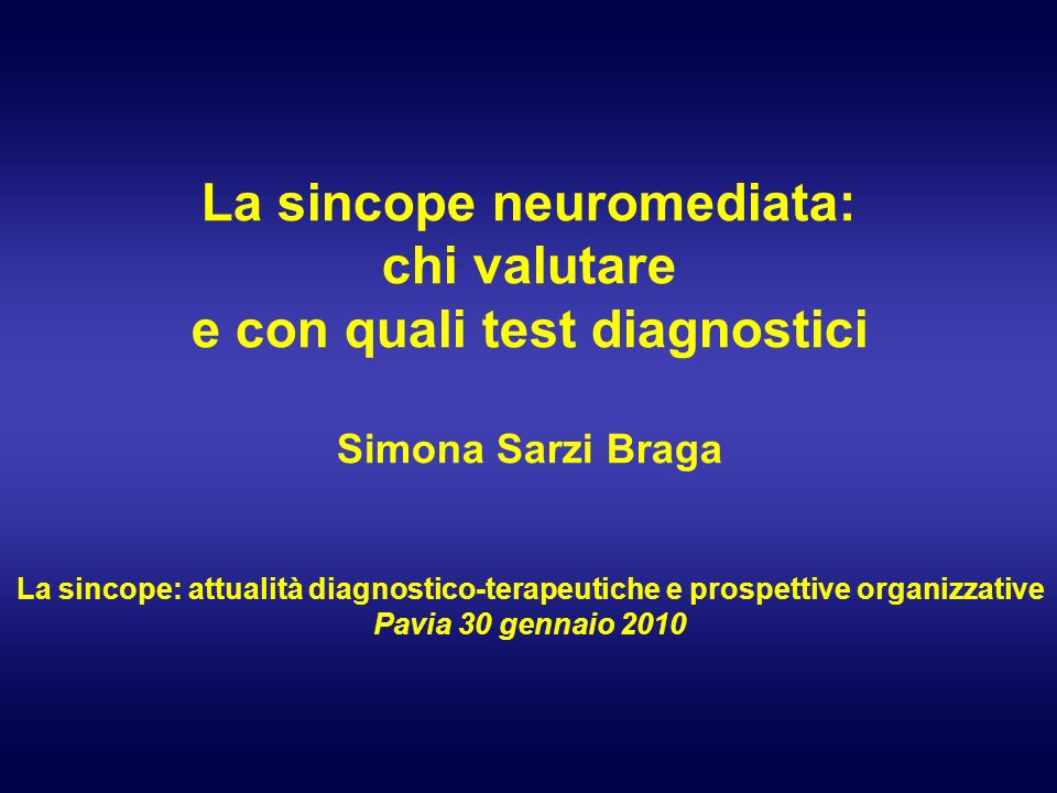 La sincope neuromediata: e con quali test diagnostici