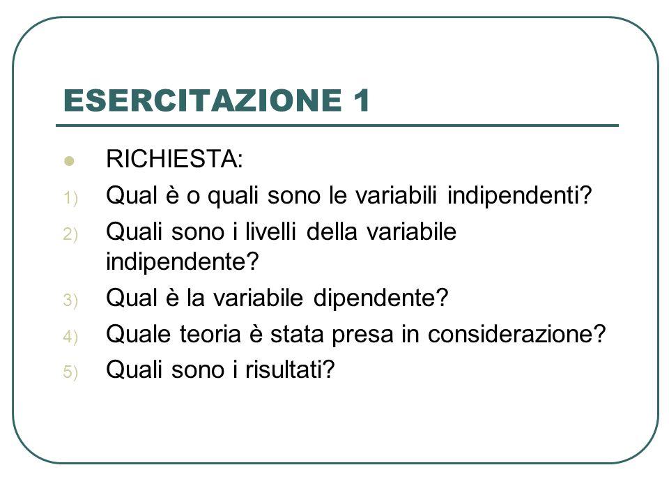 ESERCITAZIONE 1 RICHIESTA: