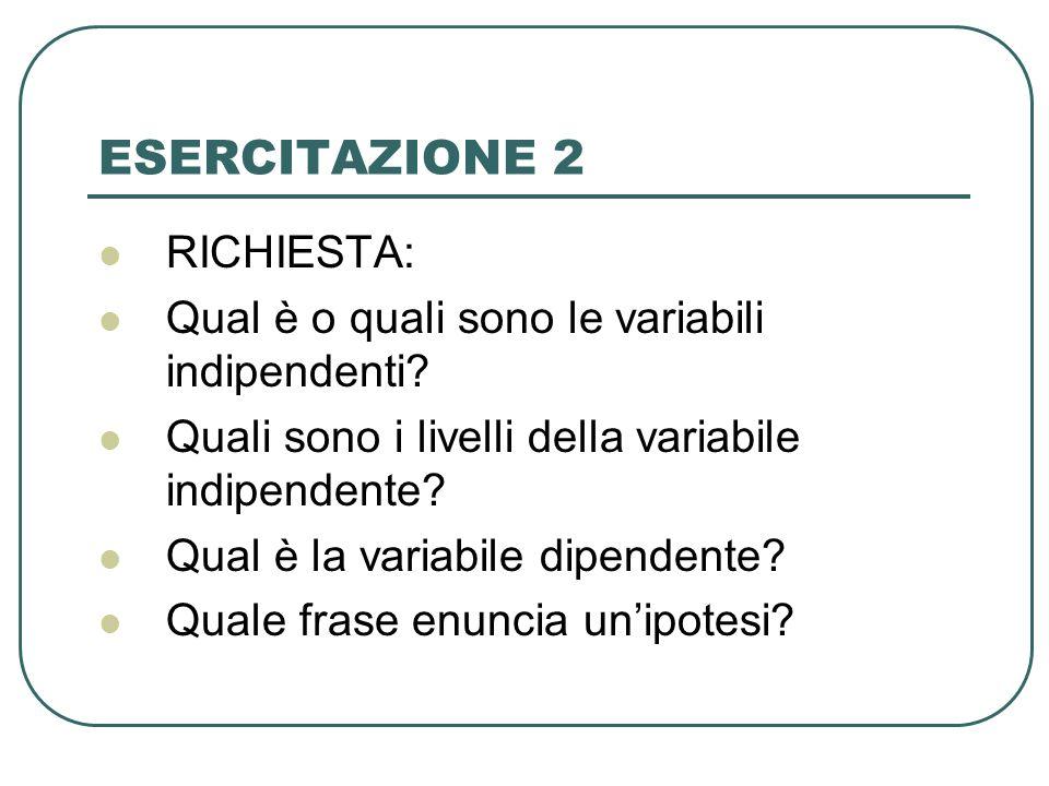 ESERCITAZIONE 2 RICHIESTA: