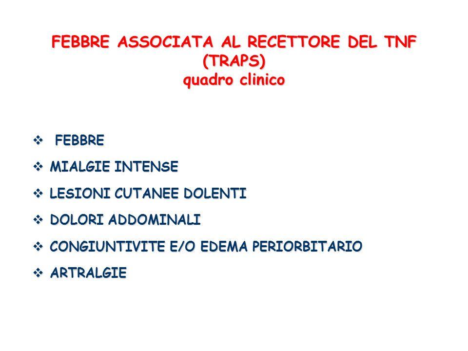 FEBBRE ASSOCIATA AL RECETTORE DEL TNF (TRAPS) quadro clinico