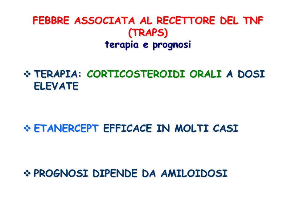 FEBBRE ASSOCIATA AL RECETTORE DEL TNF (TRAPS) terapia e prognosi