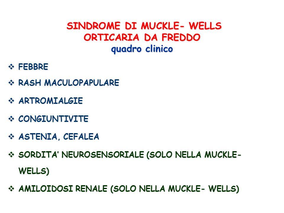 SINDROME DI MUCKLE- WELLS ORTICARIA DA FREDDO quadro clinico