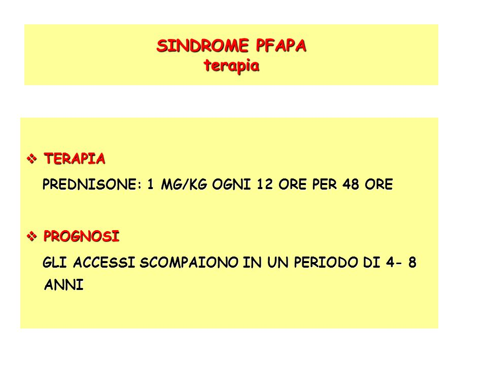 SINDROME PFAPA terapia