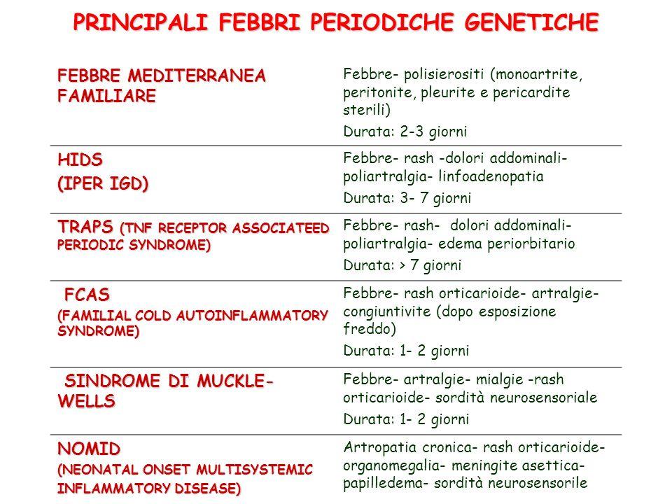 PRINCIPALI FEBBRI PERIODICHE GENETICHE