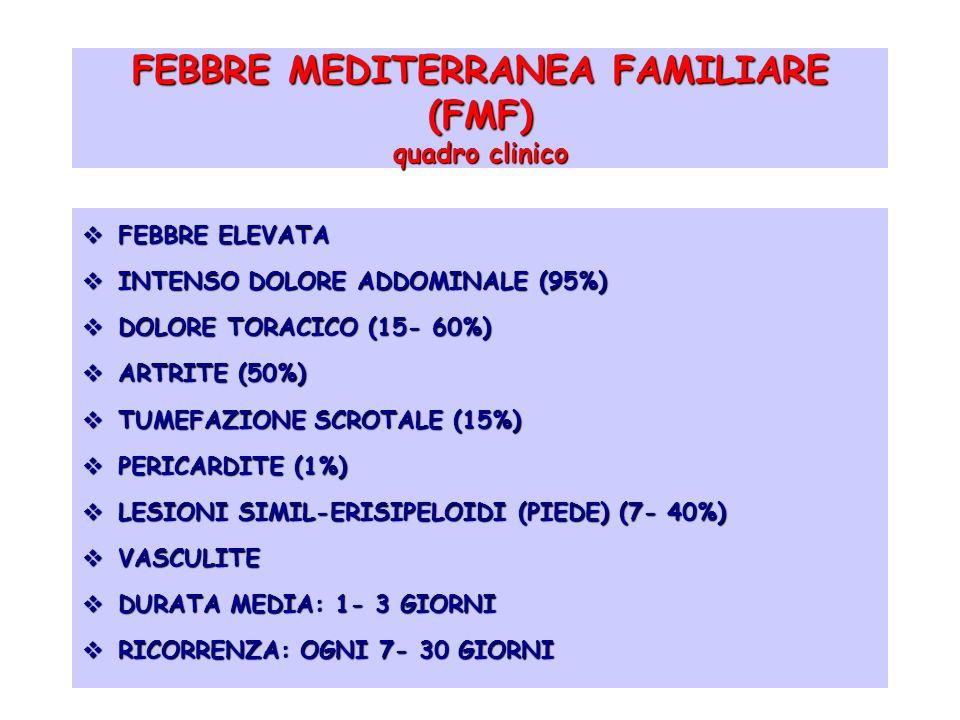 FEBBRE MEDITERRANEA FAMILIARE (FMF) quadro clinico