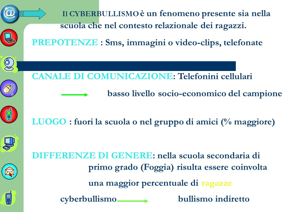 PREPOTENZE : Sms, immagini o video-clips, telefonate