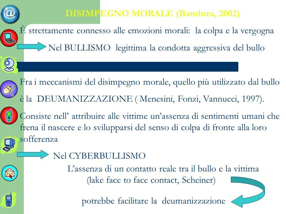 DISIMPEGNO MORALE (Bandura, 2002)