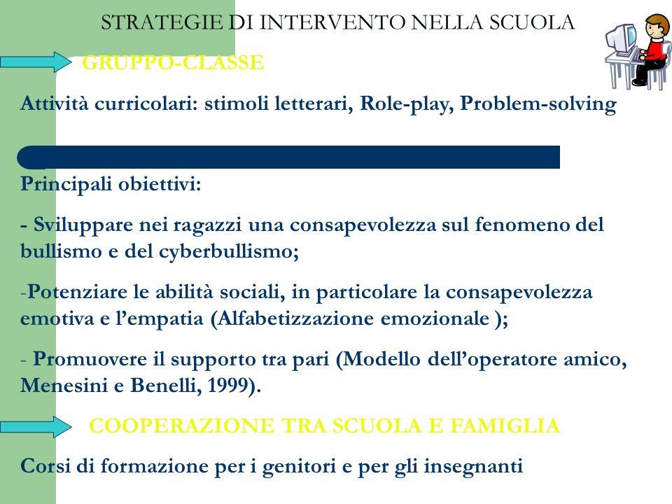 STRATEGIE DI INTERVENTO NELLA SCUOLA