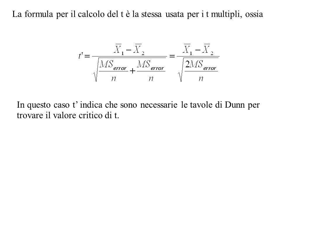 La formula per il calcolo del t è la stessa usata per i t multipli, ossia