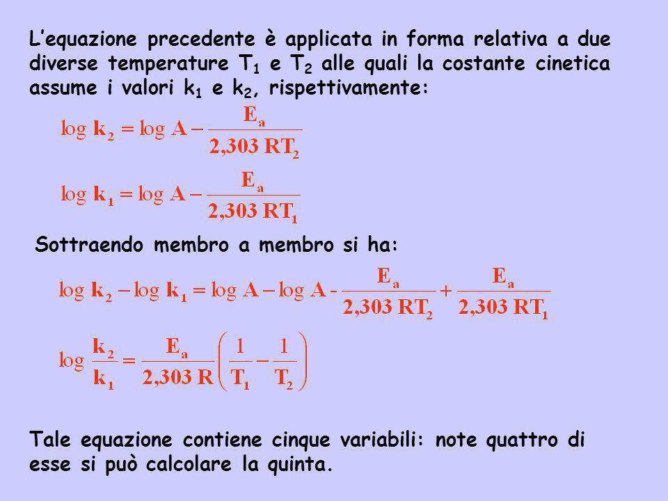 L'equazione precedente è applicata in forma relativa a due diverse temperature T1 e T2 alle quali la costante cinetica assume i valori k1 e k2, rispettivamente: