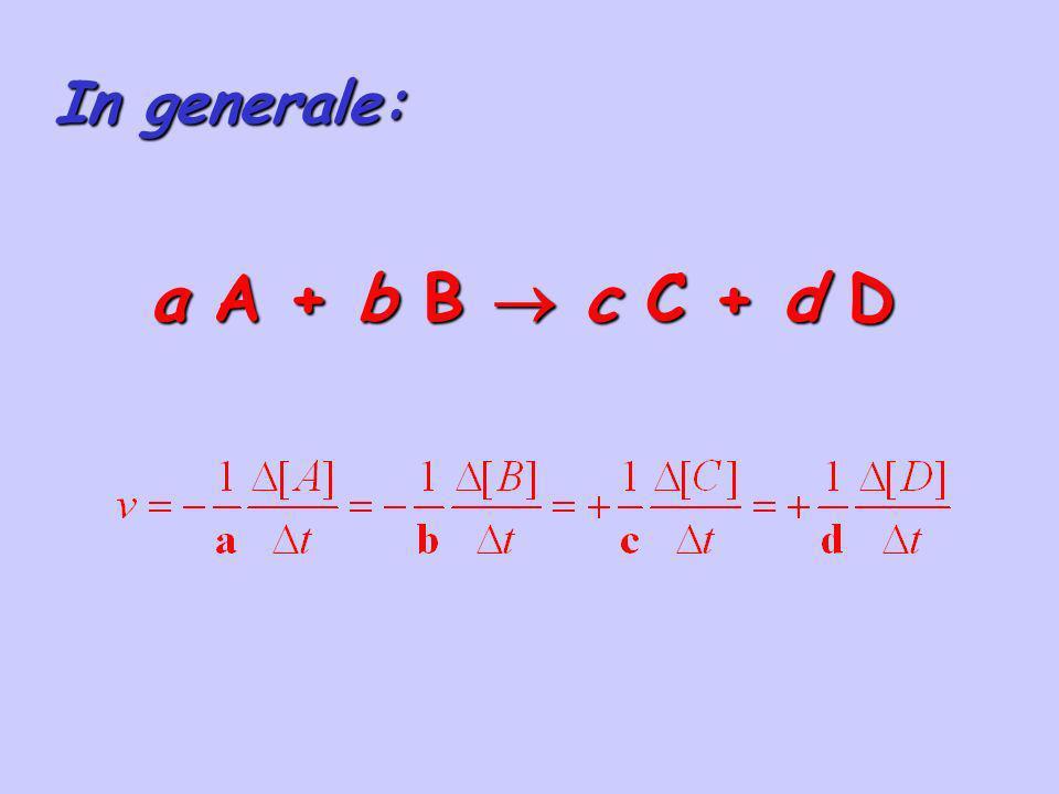 In generale: a A + b B  c C + d D