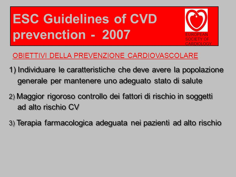 ESC Guidelines of CVD prevenction - 2007
