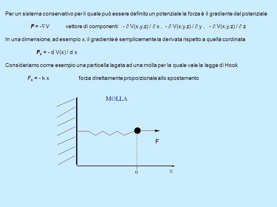 Per un sistema conservativo per il quale può essere definito un potenziale la forza è il gradiente del potenziale