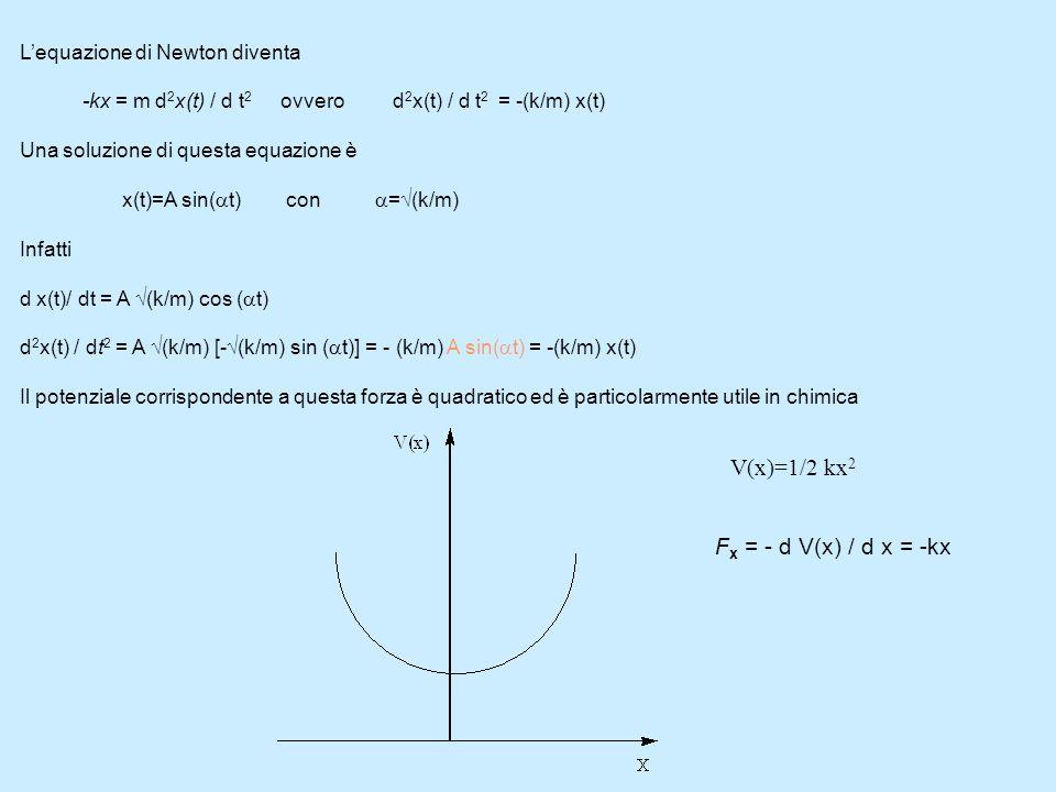 V(x)=1/2 kx2 Fx = - d V(x) / d x = -kx L'equazione di Newton diventa