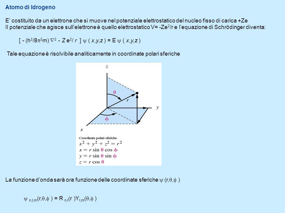 Atomo di IdrogenoE' costituito da un elettrone che si muove nel potenziale elettrostatico del nucleo fisso di carica +Ze.