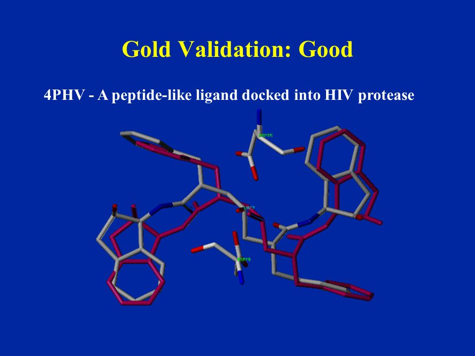 Gold Validation: Good 4PHV - A peptide-like ligand docked into HIV protease