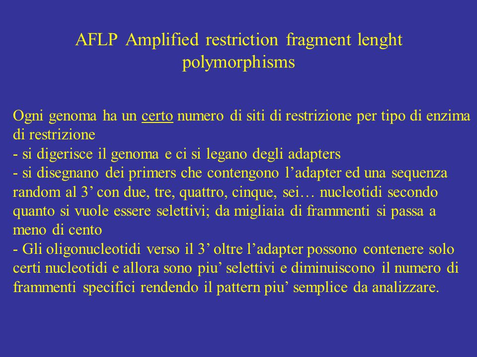 AFLP Amplified restriction fragment lenght polymorphisms