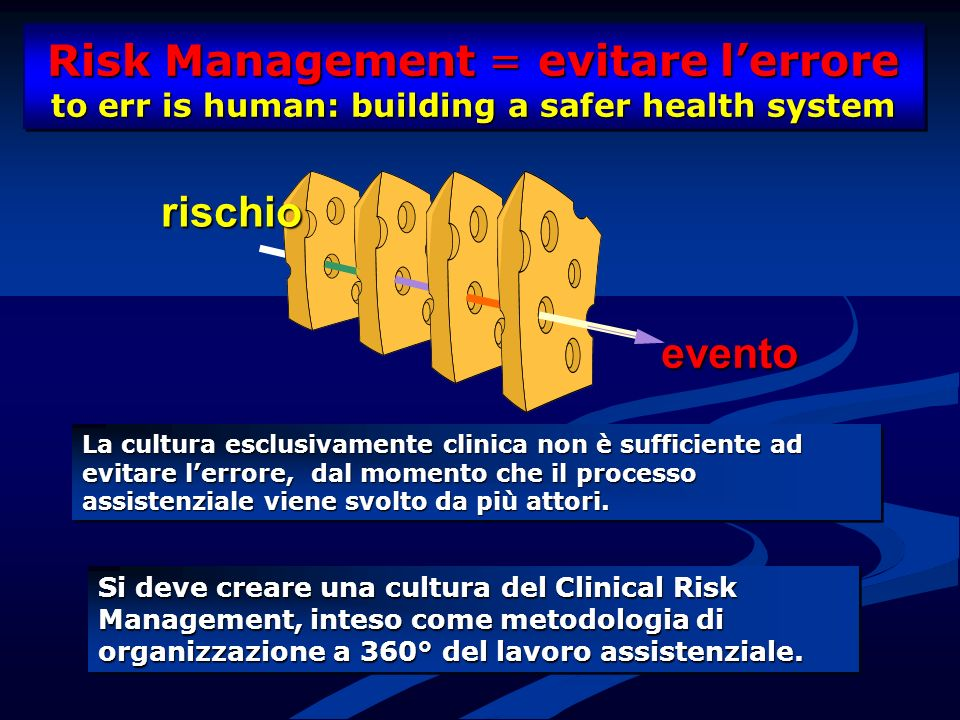Risk Management = evitare l'errore to err is human: building a safer health system