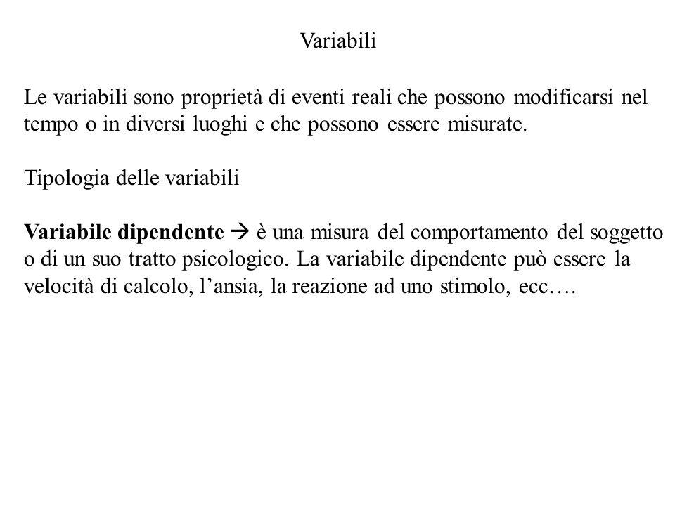 Variabili Le variabili sono proprietà di eventi reali che possono modificarsi nel tempo o in diversi luoghi e che possono essere misurate.