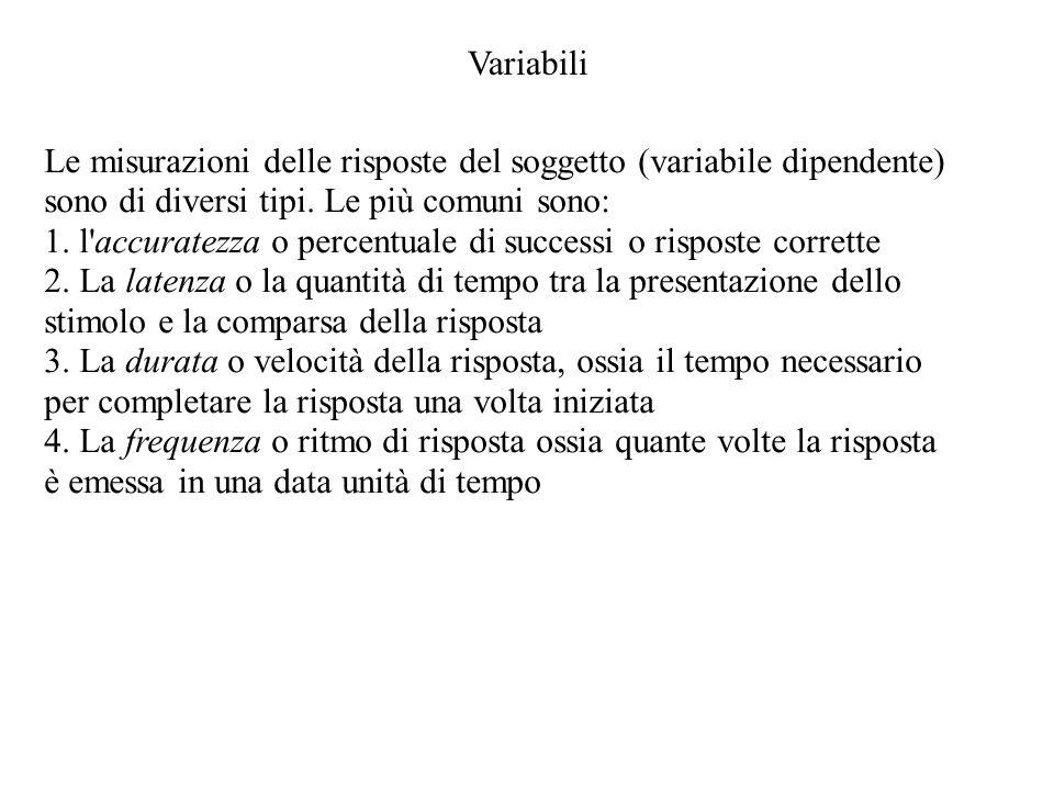 VariabiliLe misurazioni delle risposte del soggetto (variabile dipendente) sono di diversi tipi. Le più comuni sono: