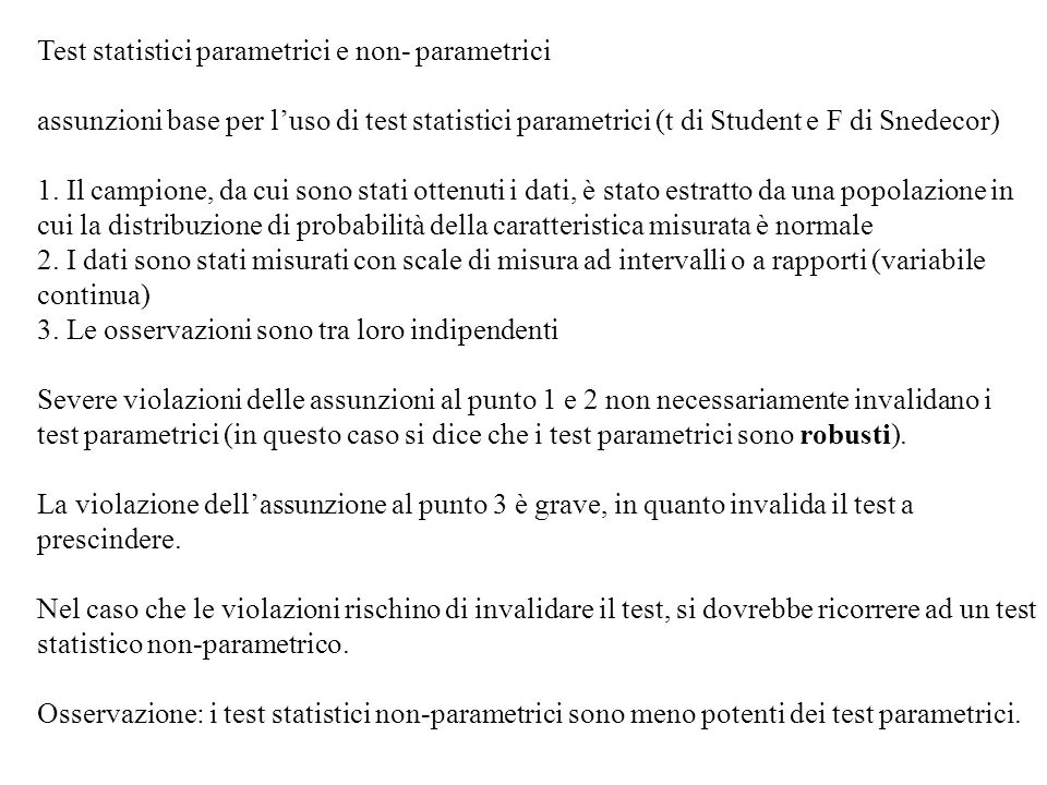 Test statistici parametrici e non- parametrici