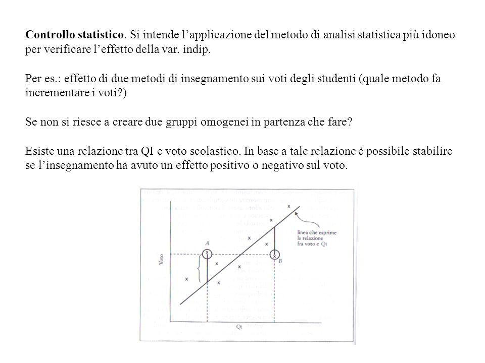 Controllo statistico. Si intende l'applicazione del metodo di analisi statistica più idoneo per verificare l'effetto della var. indip.