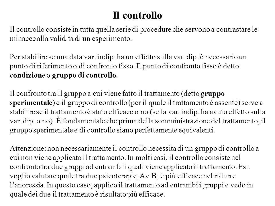 Il controllo Il controllo consiste in tutta quella serie di procedure che servono a contrastare le minacce alla validità di un esperimento.
