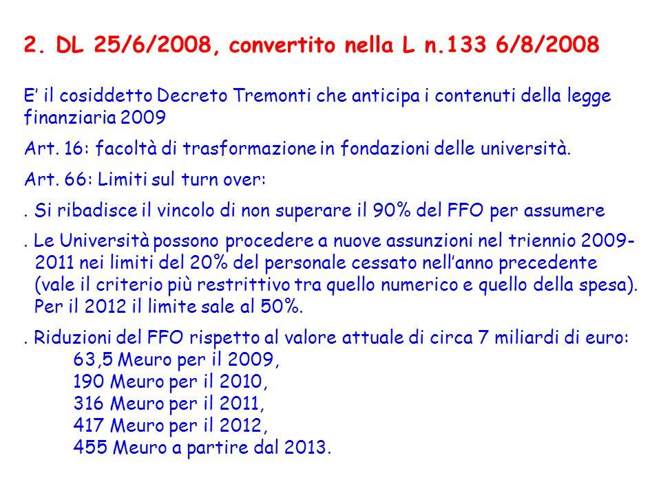 2. DL 25/6/2008, convertito nella L n