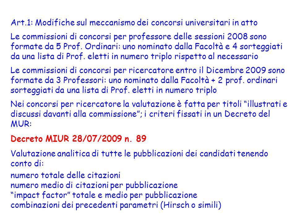 Art.1: Modifiche sul meccanismo dei concorsi universitari in atto Le commissioni di concorsi per professore delle sessioni 2008 sono formate da 5 Prof.