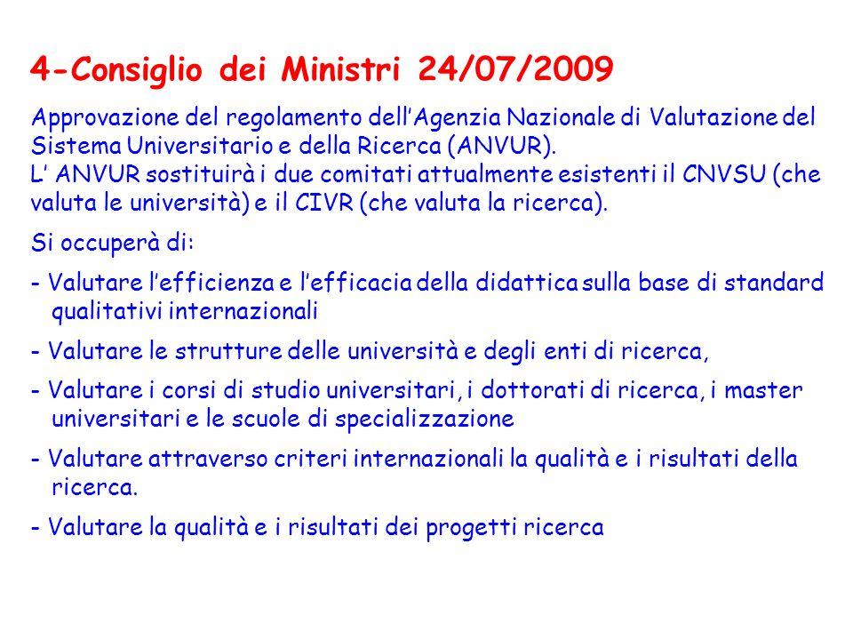4-Consiglio dei Ministri 24/07/2009 Approvazione del regolamento dell'Agenzia Nazionale di Valutazione del Sistema Universitario e della Ricerca (ANVUR).