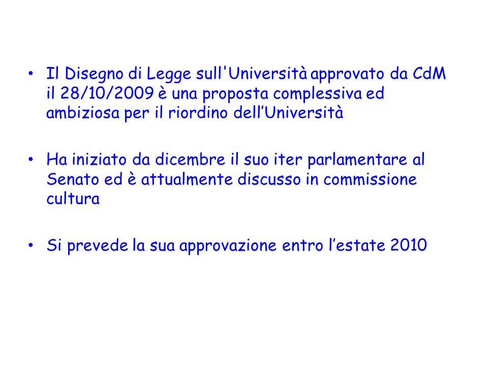 Il Disegno di Legge sull Università approvato da CdM il 28/10/2009 è una proposta complessiva ed ambiziosa per il riordino dell'Università