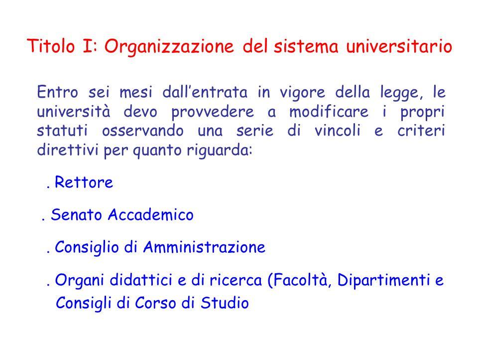 Titolo I: Organizzazione del sistema universitario