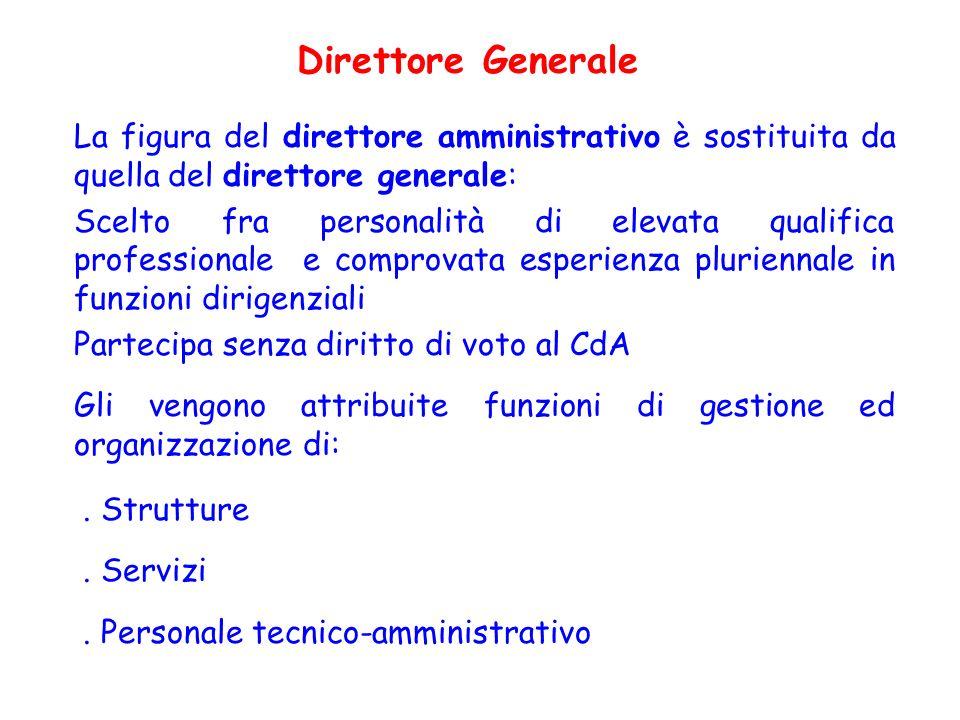 Direttore Generale La figura del direttore amministrativo è sostituita da quella del direttore generale: