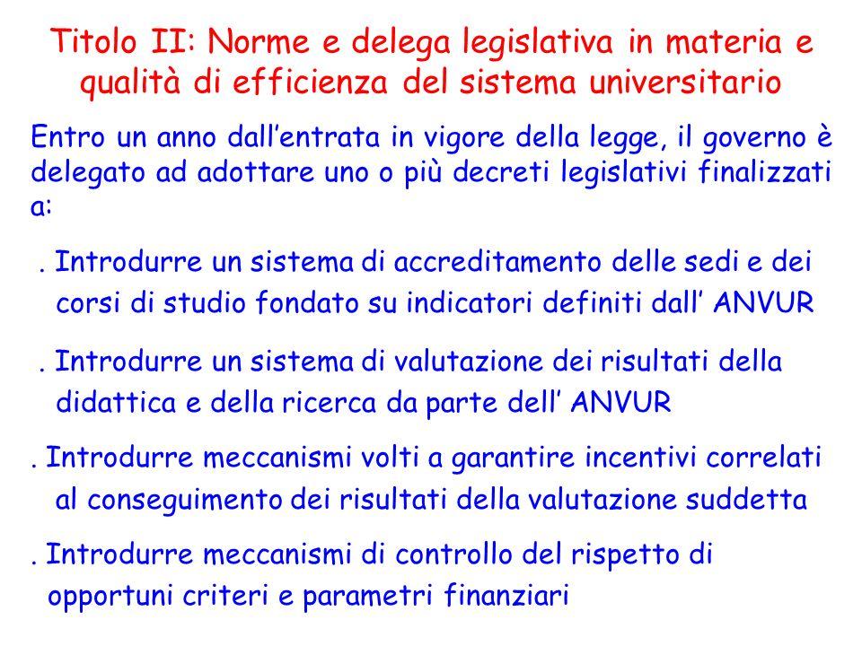 Titolo II: Norme e delega legislativa in materia e qualità di efficienza del sistema universitario