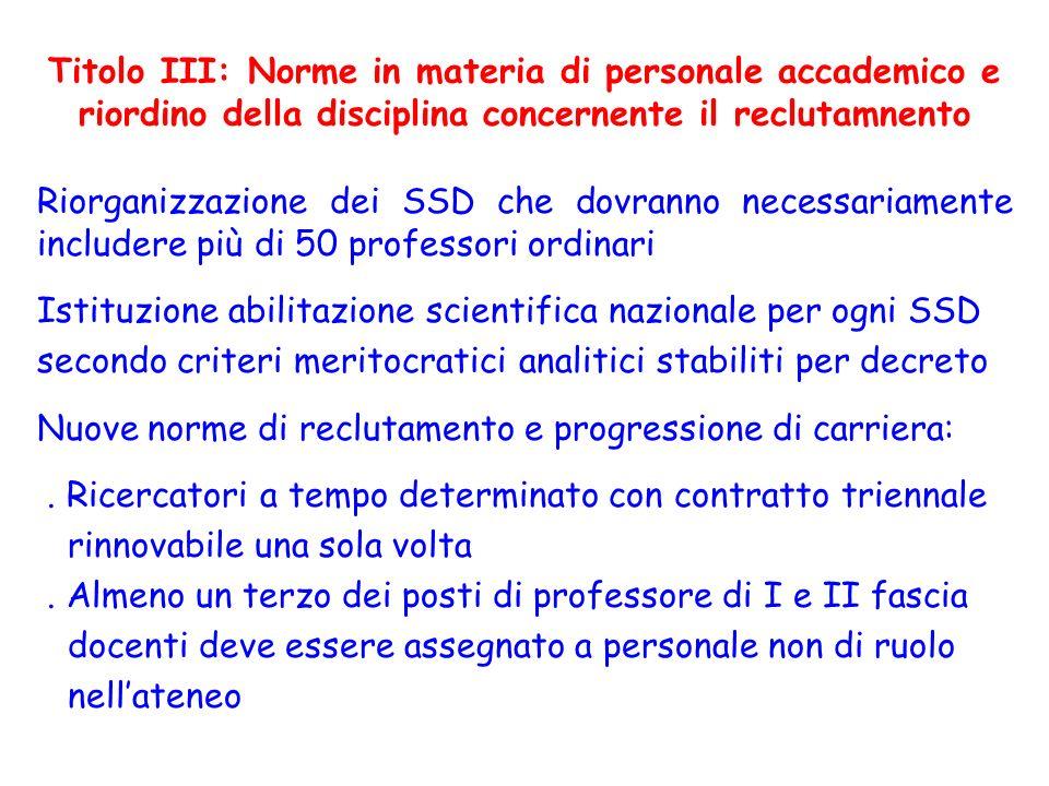 Titolo III: Norme in materia di personale accademico e riordino della disciplina concernente il reclutamnento