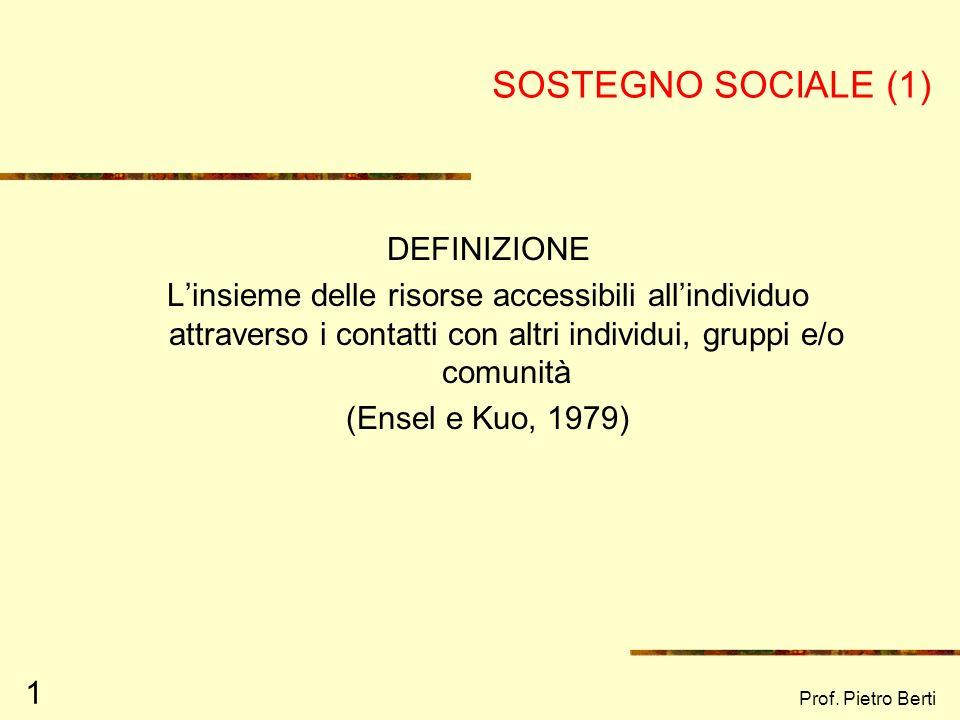 SOSTEGNO SOCIALE (1) DEFINIZIONE