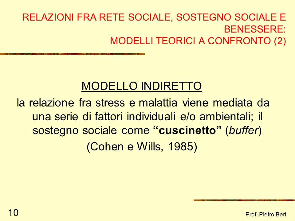 RELAZIONI FRA RETE SOCIALE, SOSTEGNO SOCIALE E BENESSERE: MODELLI TEORICI A CONFRONTO (2)