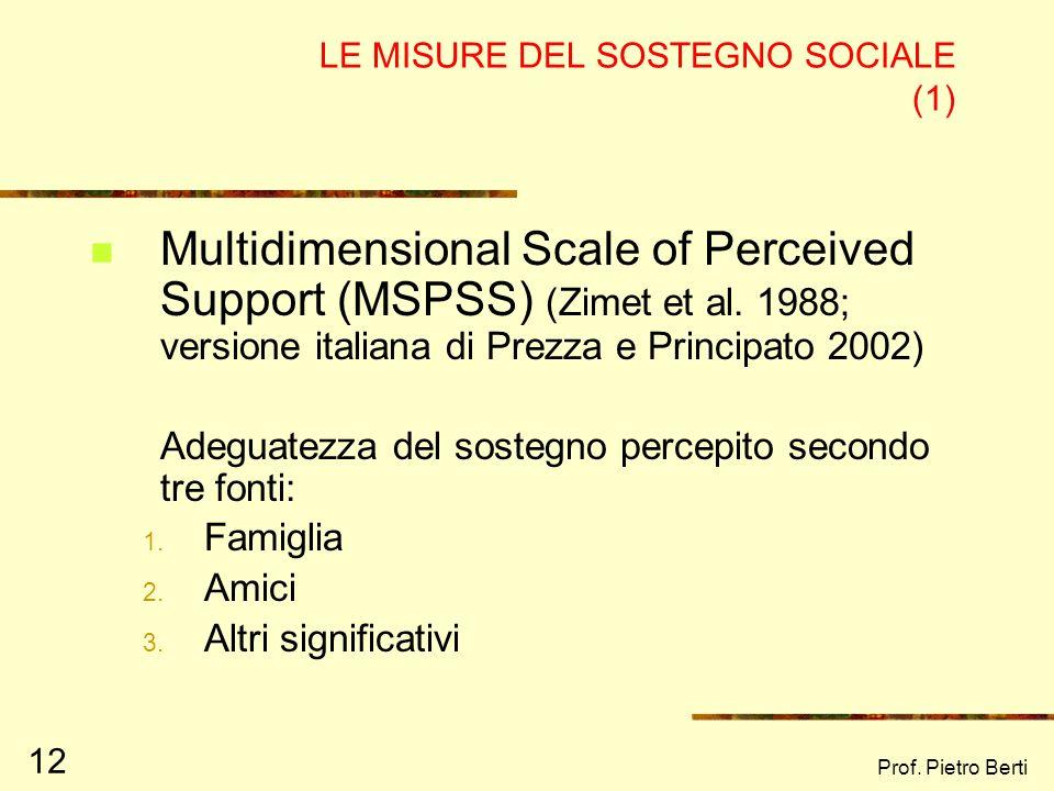 LE MISURE DEL SOSTEGNO SOCIALE (1)