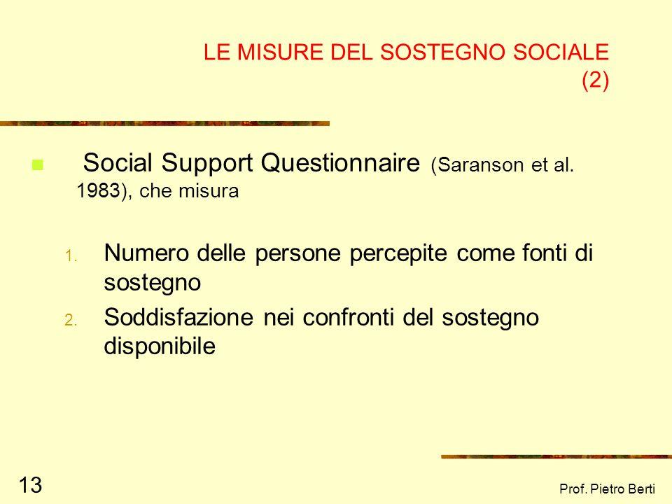 LE MISURE DEL SOSTEGNO SOCIALE (2)