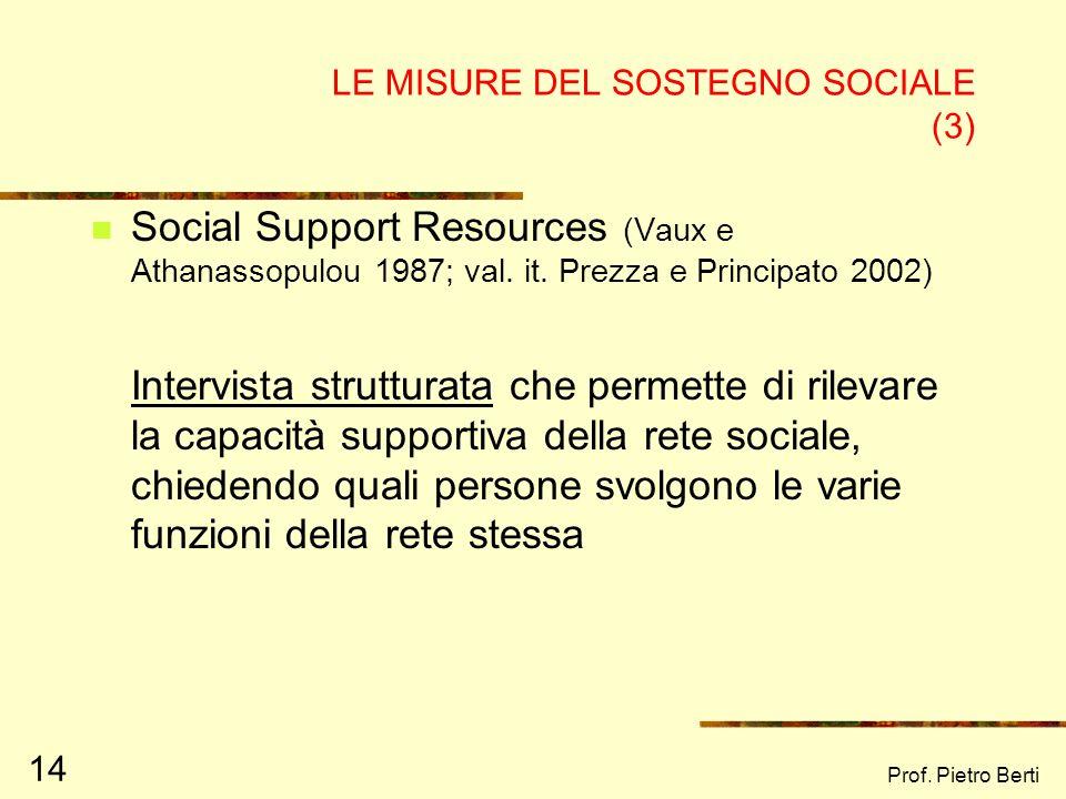 LE MISURE DEL SOSTEGNO SOCIALE (3)